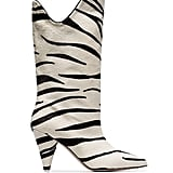 Attico White Betta 85 Zebra Print Pony Hair Leather Mid Calf Boots