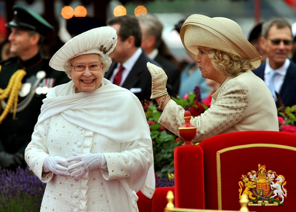 Camilla waved beside the queen at the Thames Diamond Jubilee Pageant.