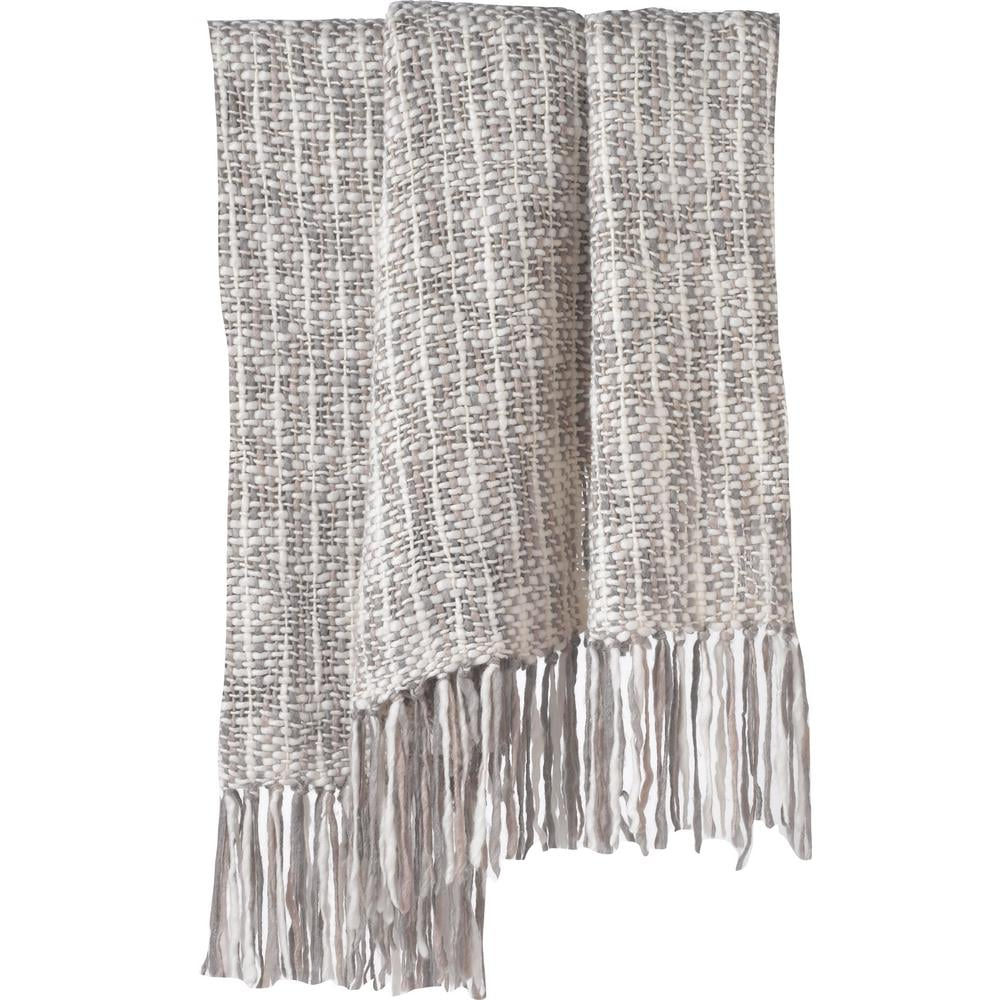 Couture Dreams Cozi Grey Knit Chunky Throw