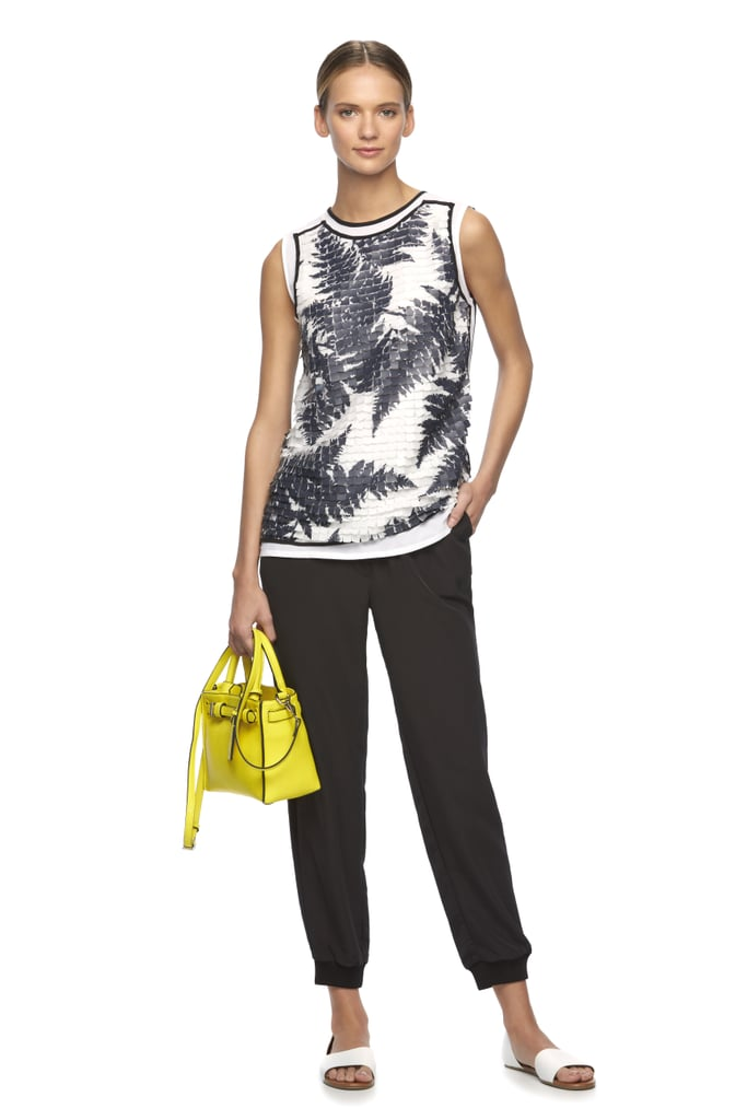 Paillette Fern Top ($78), Soft Jogger Pants ($60), and RK40 Belted Convertible Mini Satchel ($109)