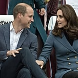 Kate placed her hand on William's leg as they chatted during a ceremony in October 2017.