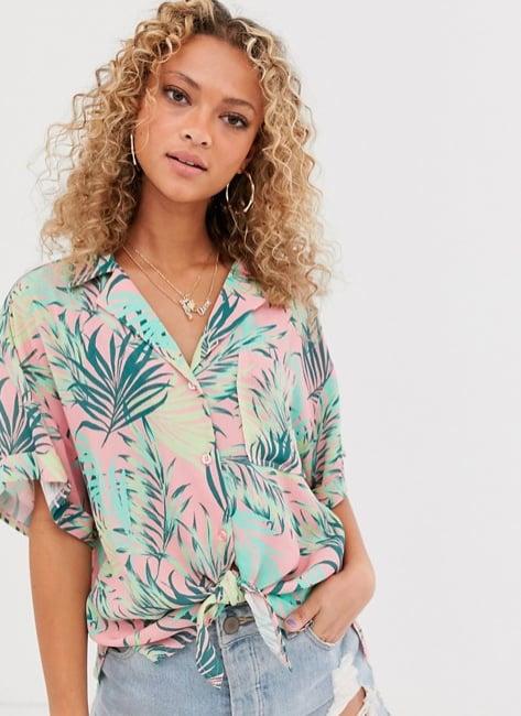 ASOS Design Tropical Print Short Sleeve Crinkle Shirt
