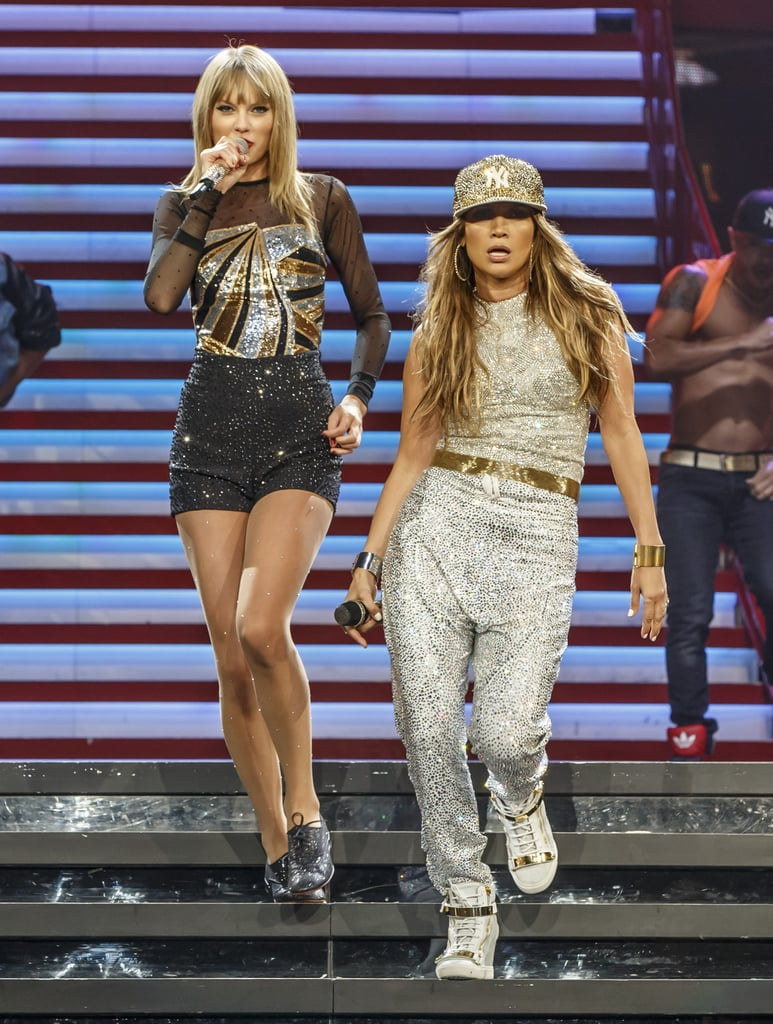 Jennifer Lopez and Taylor Swift were a sequined pair when Jennifer made an appearance at the Staples Center in LA for Taylor's RED Tour.