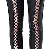 Zuilily Black Lace-Up Leather Pants