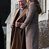 Prince Charles engaged with his daughter-in-law after Christmas Day church services in 2014.