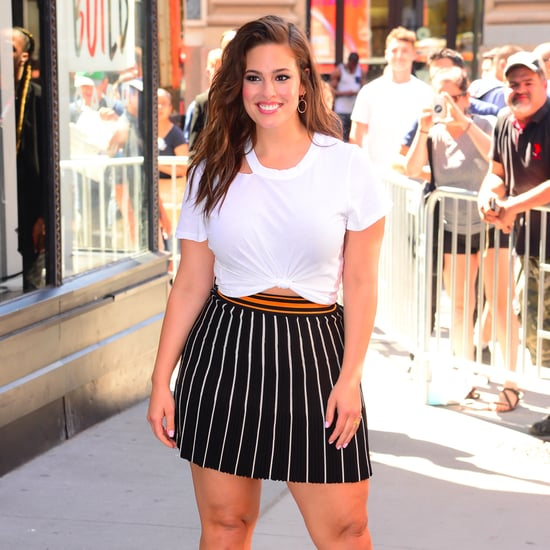 Ashley Graham Wearing Striped Miniskirt