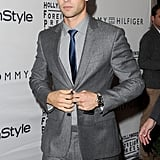 Chace Crawford buttoned his suit jacket while heading into the Windsor Arms hotel in Toronto.