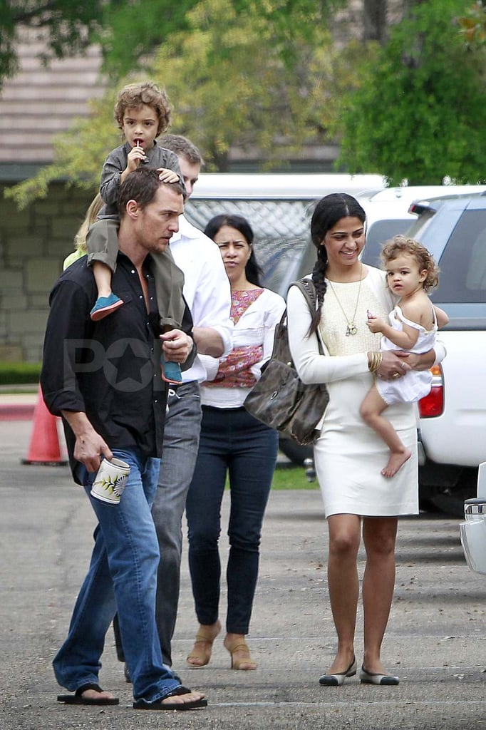 Matthew McConaughey carried Levi on his shoulders while Camila Alves held onto Vida in Austin yesterday. The whole family was joined by Camila's mom, Fatima, for the church outing. Matthew and Camila recently moved to Texas with their kids, though relocating to Matthew's homestate hasn't meant they're stepping out of the spotlight. Matthew and Camila hit the red carpet at SXSW to premiere Bernie on Wednesday and Matthew also participated in a press event for Killer Joe last week. He has even more promoting ahead of him since Magic Mike hits theaters this Summer. Matthew may also be juggling work with a wedding, if he and Camila decide to tie the knot this year after becoming engaged over the holidays.