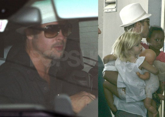 Brad Pitt, Shiloh Jolie-Pitt and Zahara Jolie-Pitt Arrive at the Hospital to see Angelina Jolie's Twins