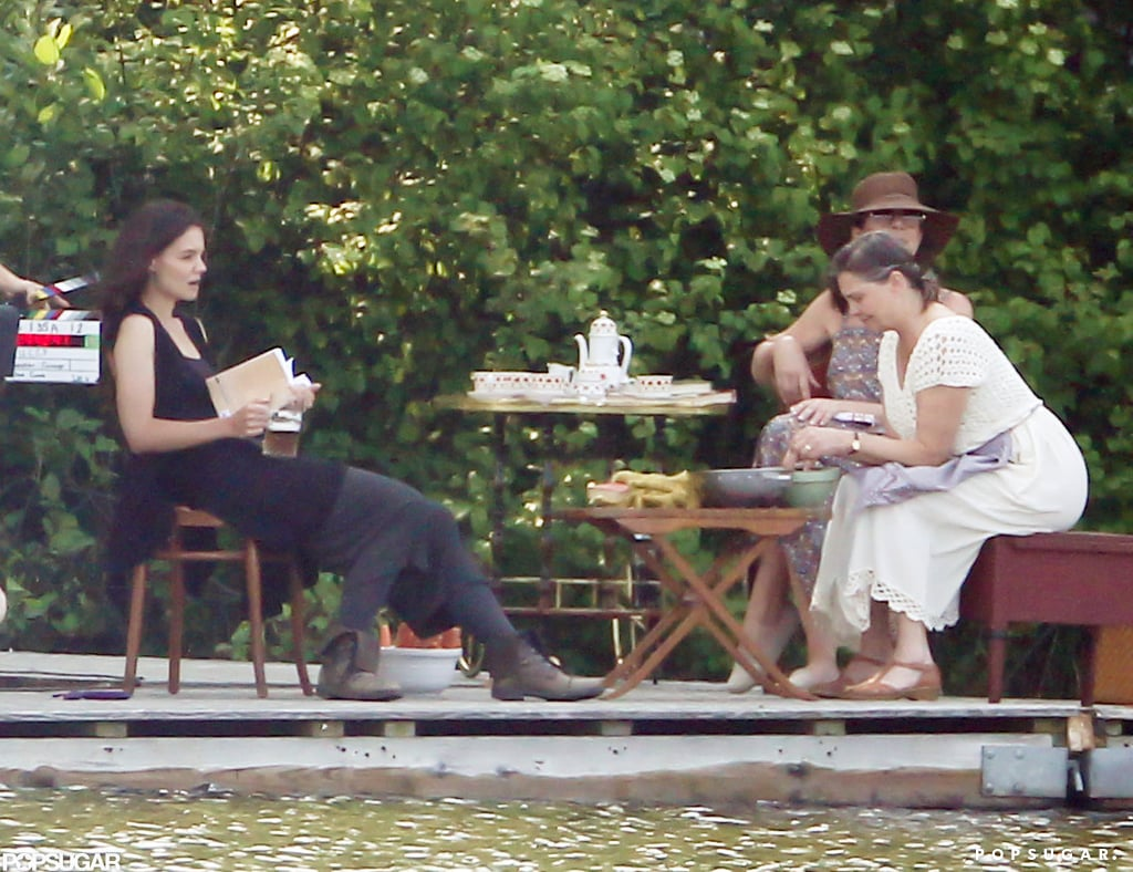 Katie Holmes and her costars sat together on set in Kent, CT.