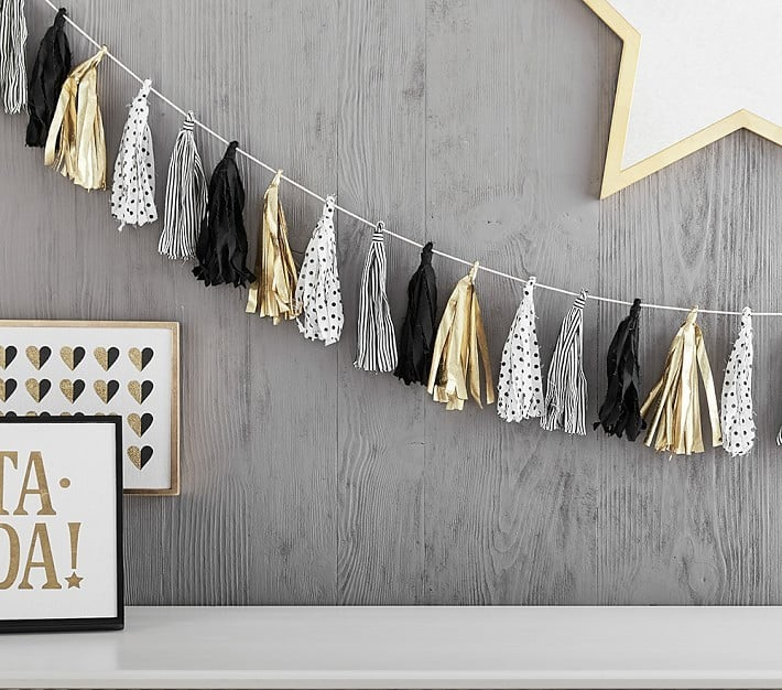 Black and White Tassel Garland