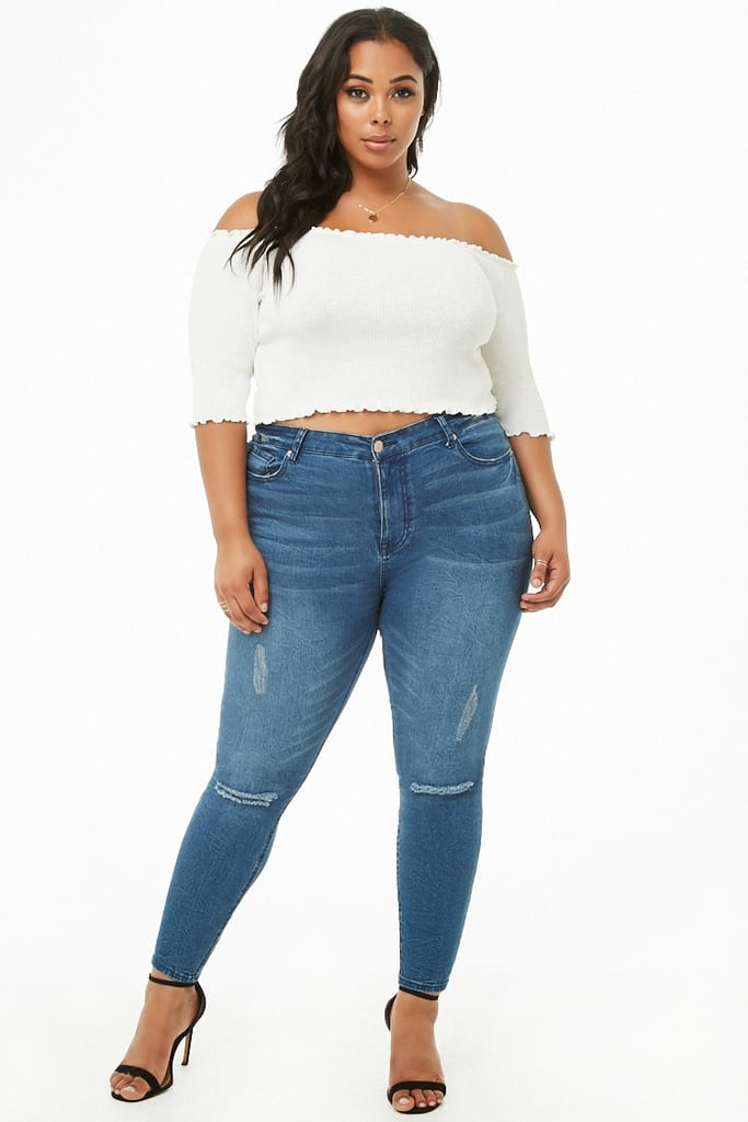 db76071a1e9bd Forever 2 Ribbed Off-the-Shoulder Top