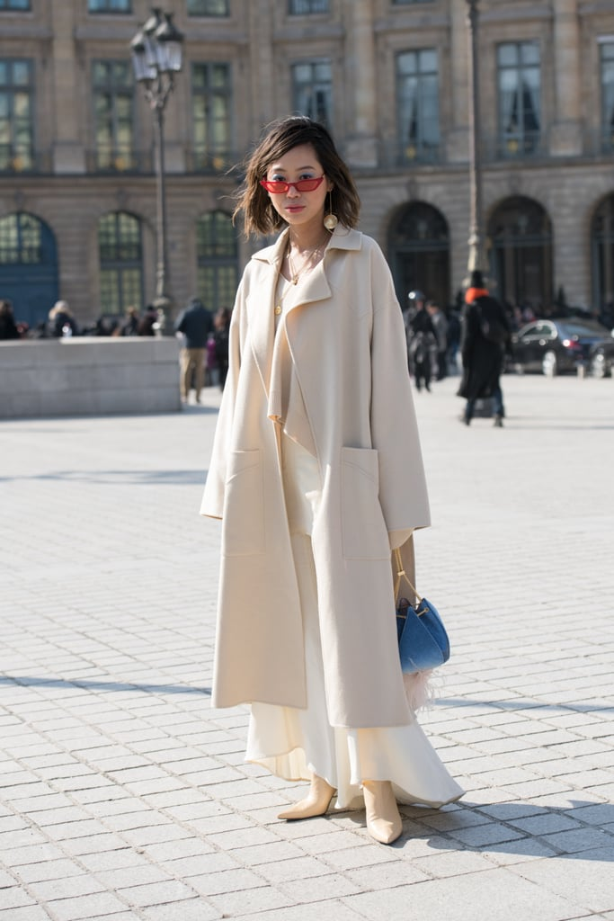A Cream Coat and White Maxi Dress