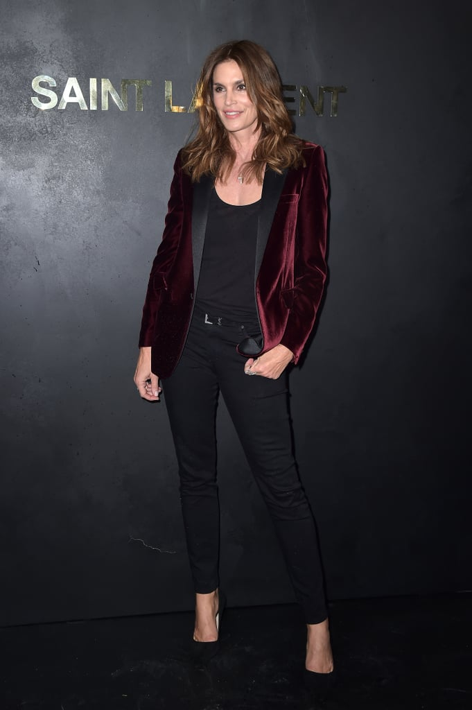 Cindy Crawford at the Saint Laurent Paris Fashion Week Show