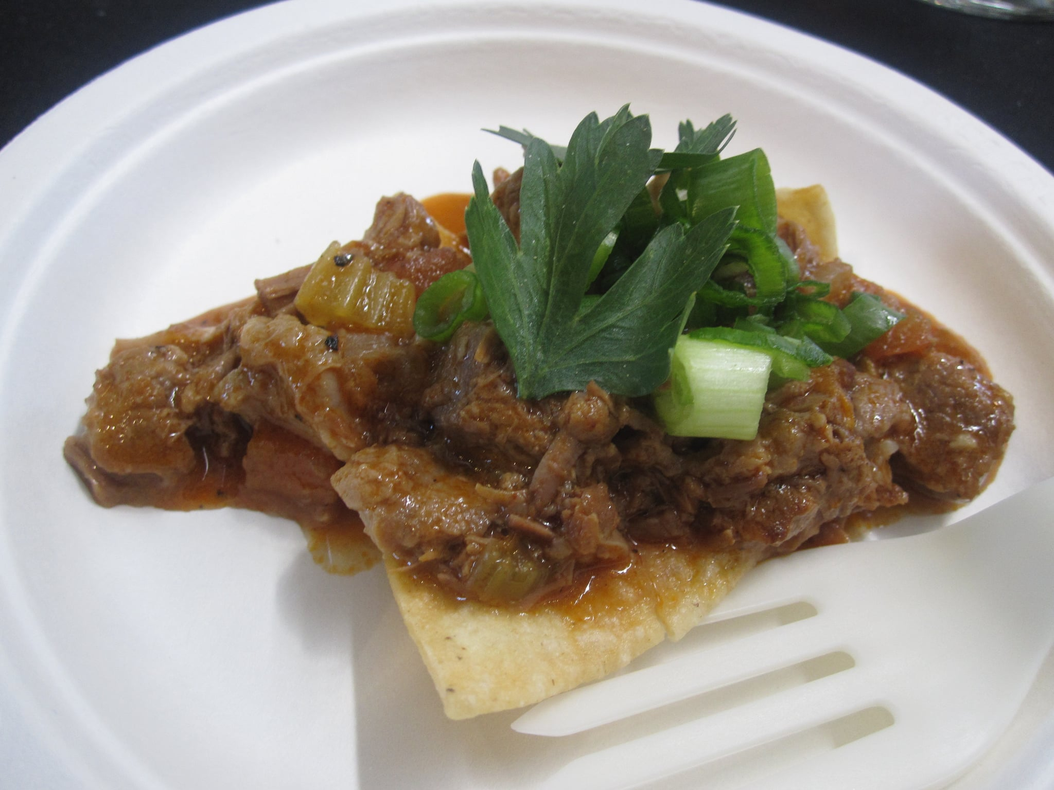 Lamb crostini was actually a Mexican-style preparation served on a crispy, just-fried tortilla chip.