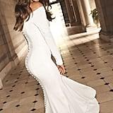 Off-the-Shoulder Buttoned Back Crepe Wedding Dress