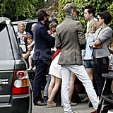 Sadie Frost and Jude Law celebrate Kate Moss's wedding with Jefferson Hack at the Swan Pub.