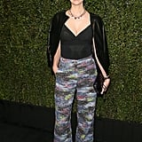 January Jones beamed with joy at the Chanel and Charles Finch dinner at Madeo.