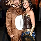 Derek Hough as a Bear and Hayley Erbert as Wonder Woman