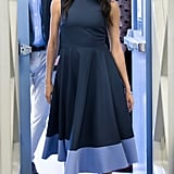 Meghan's Roksanda dress featured a bold periwinkle swipe on the hem during her visit to Australia.