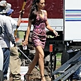 Naya Rivera hit the LA set of Glee in a sexy dress and heels on Monday.