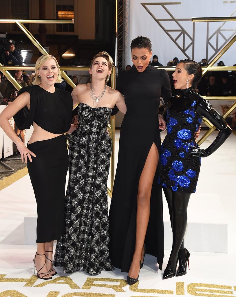 Kristen Stewart, Ella Balinska, Naomi Scott, and Elizabeth Banks at Charlie's Angels London Premiere