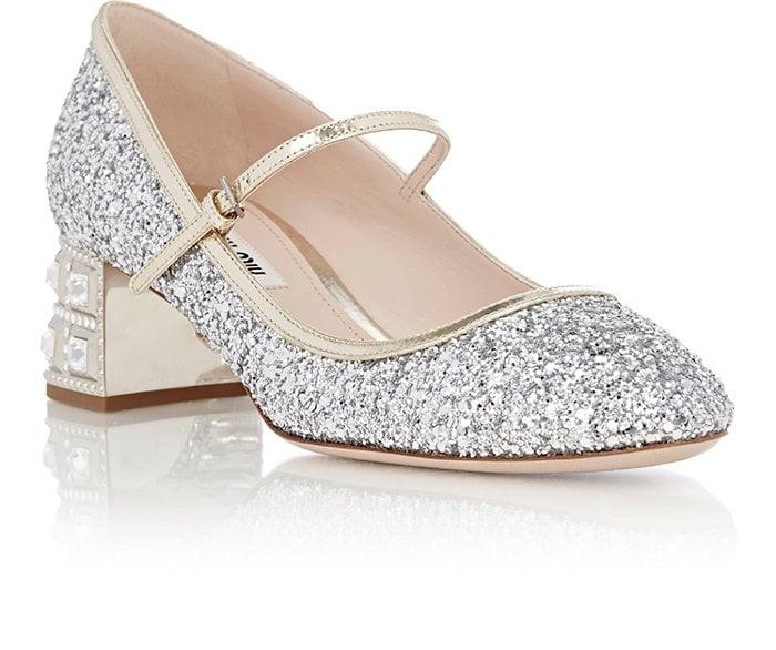 d92e279539b Miu Miu Glitter Mary Jane Pumps-Silver ( 895)