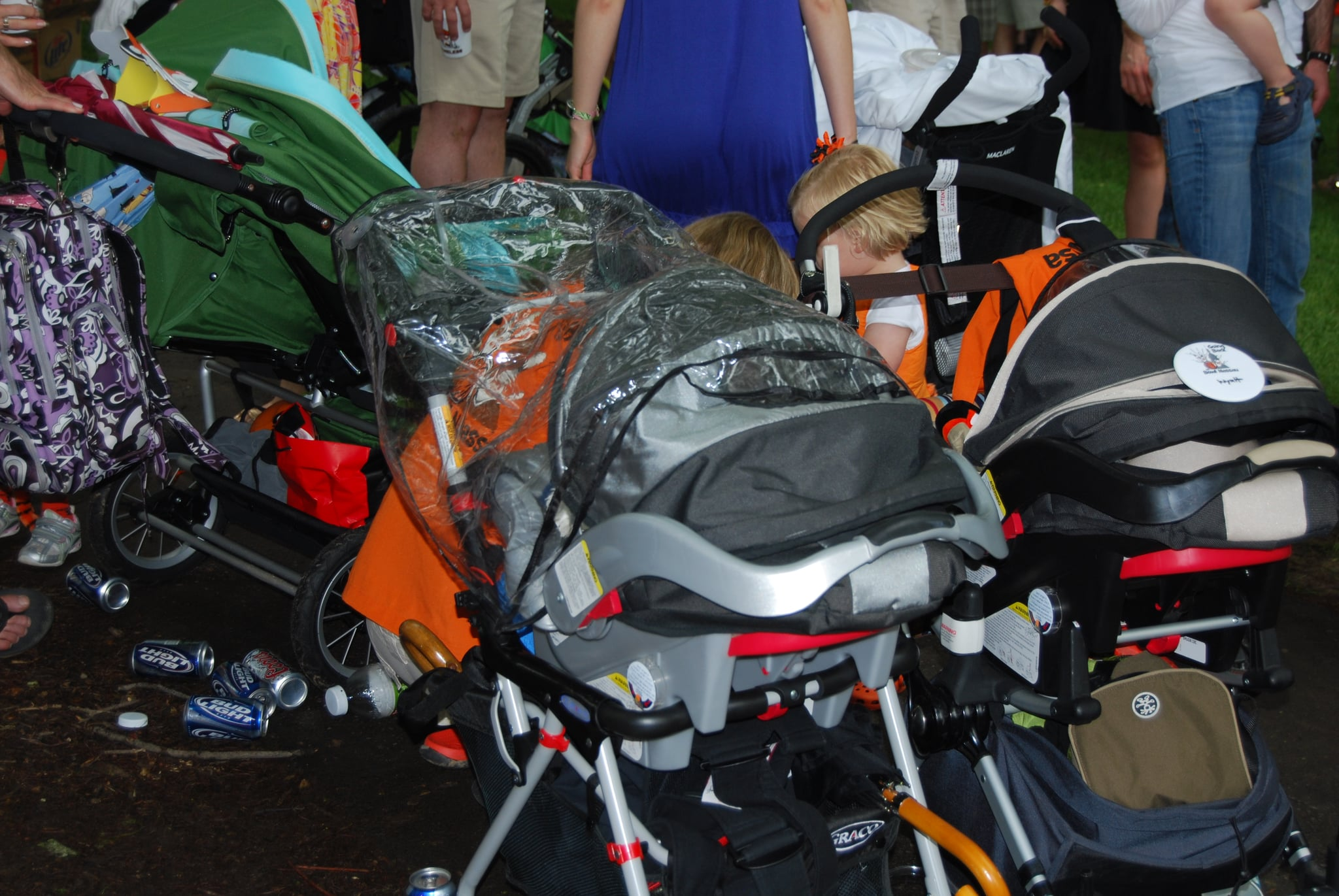 The stroller parking lot.