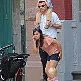 Liev Schreiber with his sons in NYC.