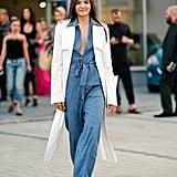 The Outfit: A Jumpsuit + Coat + Sandals