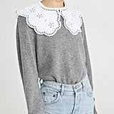Sea Zippy Lace Collar Sweater