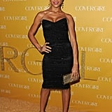 Dania Ramirez looked sultry and sexy in a fitted black cocktail dress, dangly diamond earrings, and black peep-toe heels.