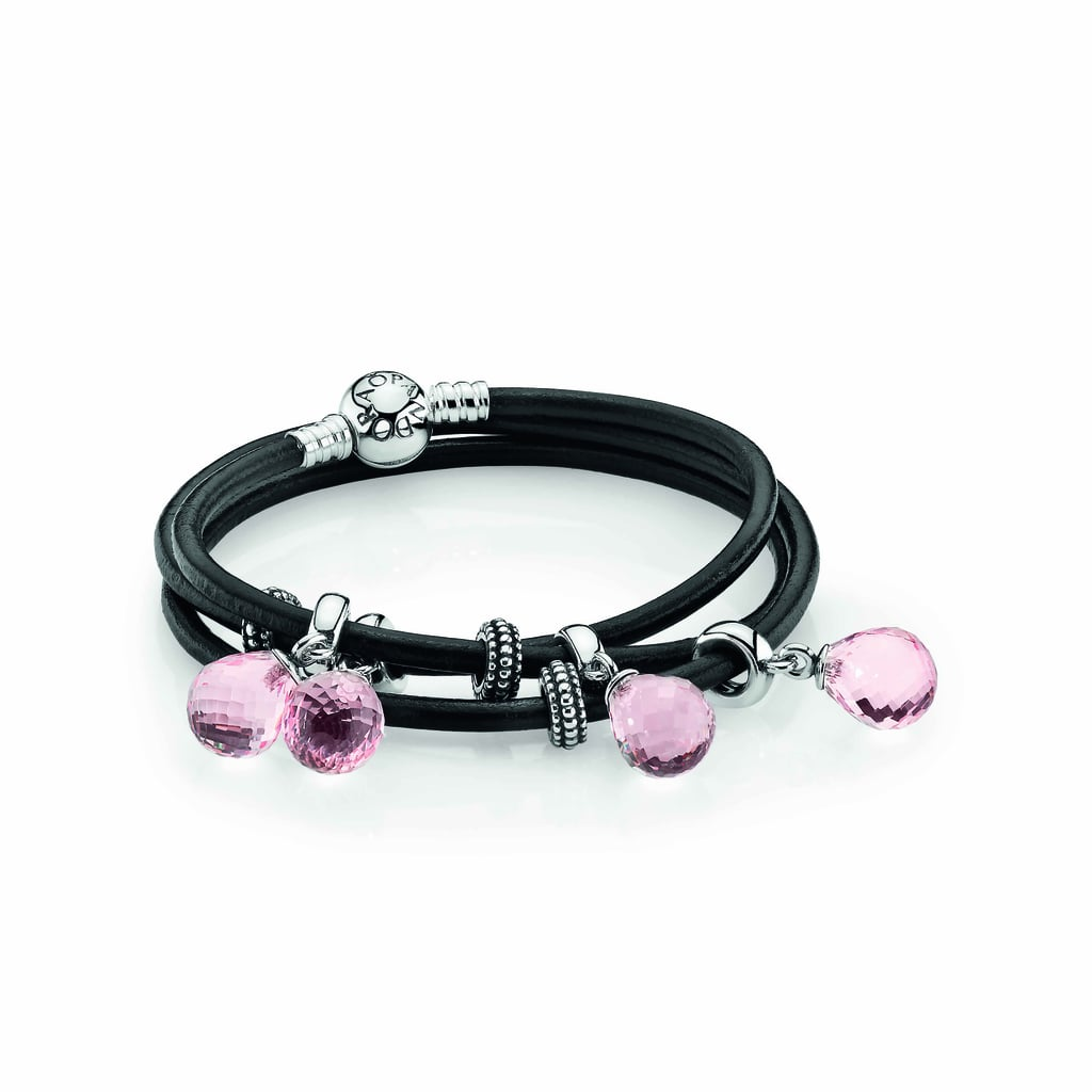 Black triple leather bracelet, $65, pink Murano glass faceted pendants, $55 each, and sterling silver spacers, $18 each.