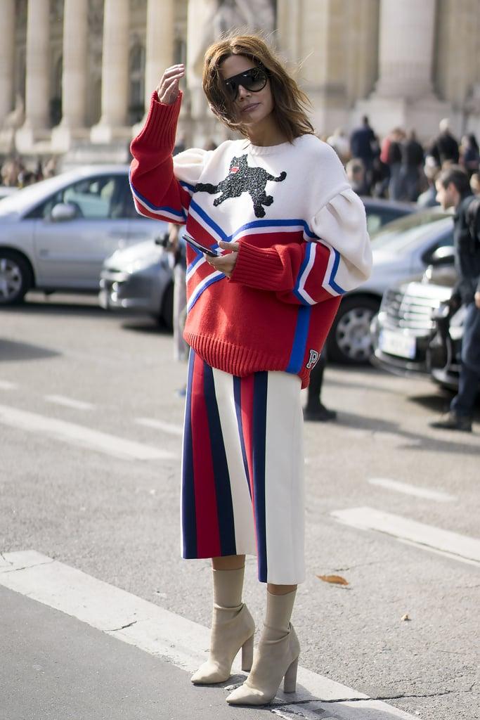 Christine Centenera wearing Gucci at Paris Fashion Week