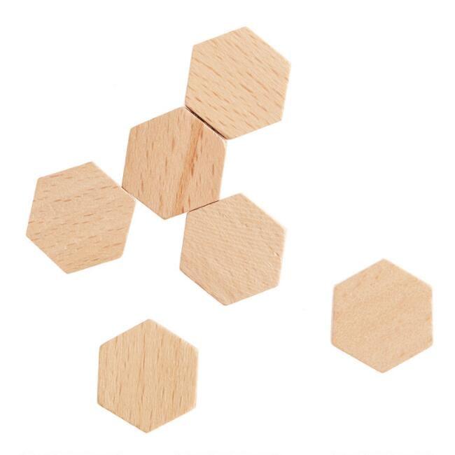 Wood Hexagon Magnets Set of Six