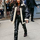 Kim Kardashian's Patent-Leather Pants in NYC