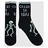Glow-in-the-Dark Crew With Skeleton & Cuff Tipping Halloween Socks