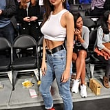 She Styled Her Shapely Heels With Rolled Denim and a Crop Top