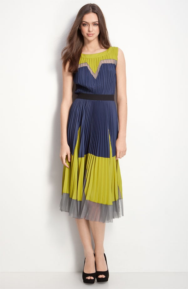 BCBG Pleated Colorblock Dress ($288)