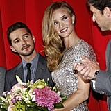 Rosie Huntington-Whiteley with flowers in Berlin.