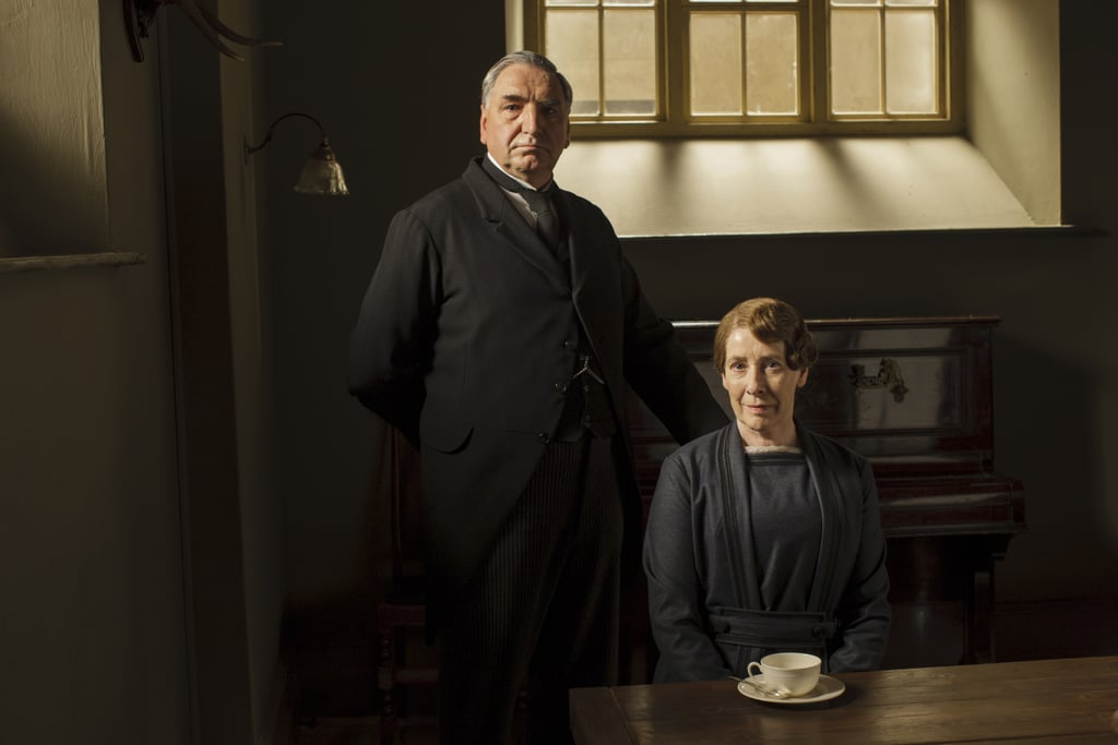 Mr. Carson (Jim Carter) and Mrs. Hughes (Phyllis Logan) take their places downstairs.