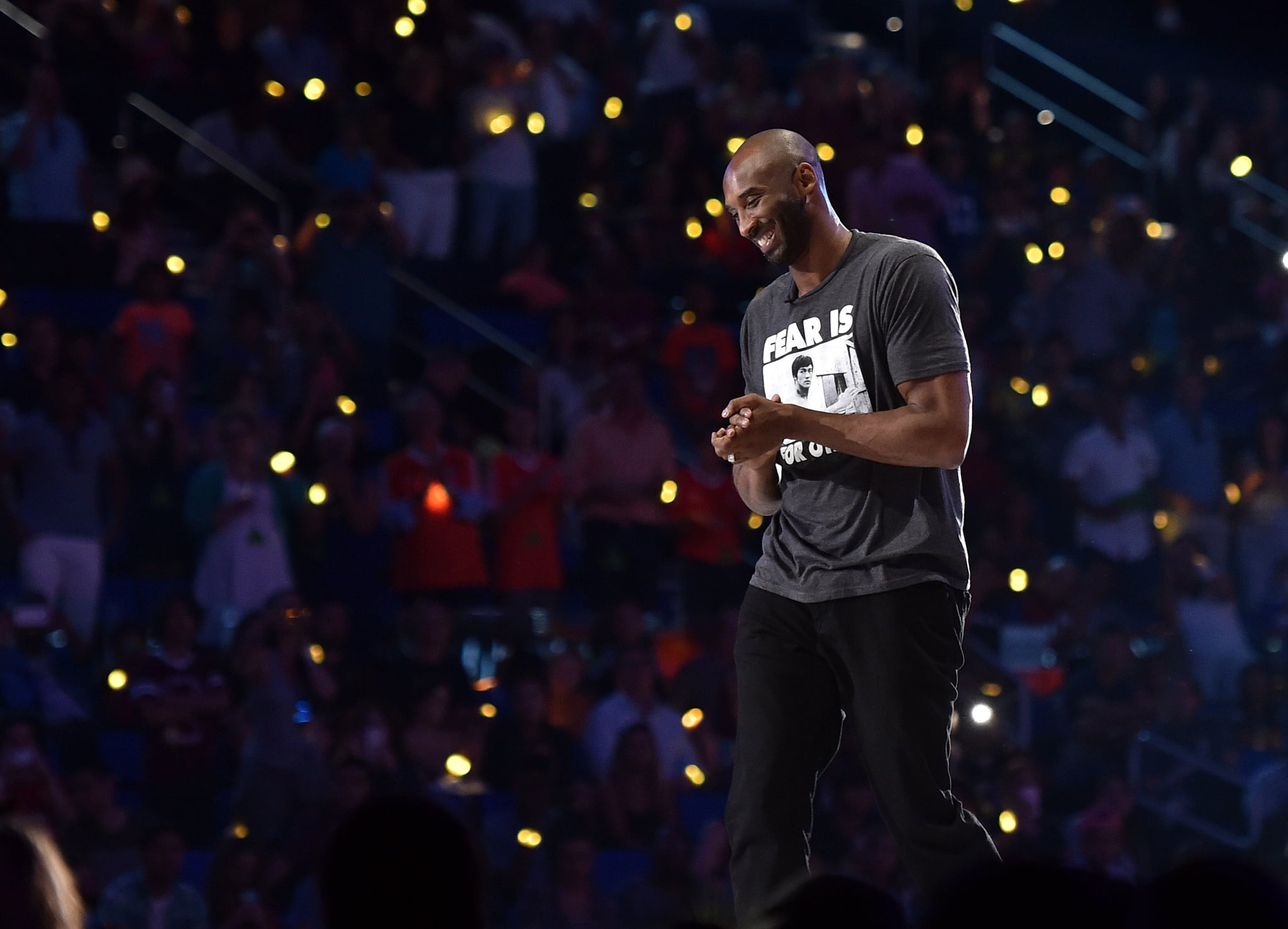 WESTWOOD, CA - JULY 14:  Honoree Kobe Bryant accepts the Legend award onstage during the Nickelodeon Kids' Choice Sports Awards 2016 at UCLA's Pauley Pavilion on July 14, 2016 in Westwood, California. The Nickelodeon Kids' Choice Sports Awards 2016 show airs on July 17, 2016 at 8pm on Nickelodeon.  (Photo by Mike Windle/KCSports2016/Getty Images for Nickelodeon)