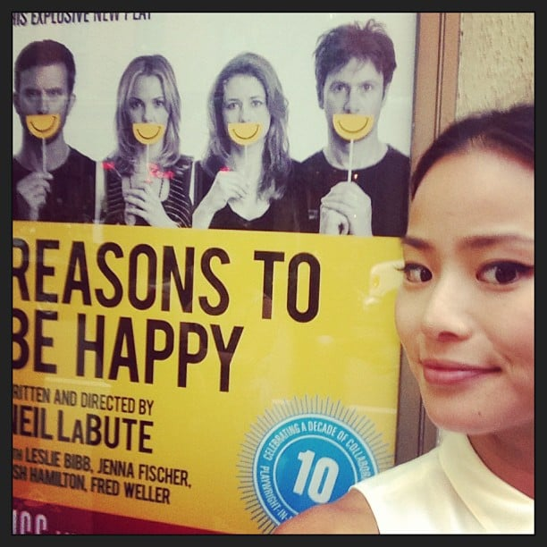 Jamie Chung posed near a movie poster for her friend Leslie Bibb. Source: Instagram user jamiejchung