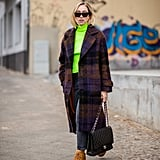 Keep It Casual With Brown Combat Boots and a Neon Turtleneck