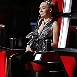 Miley Cyrus's Silver Bow Dress on The Voice