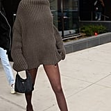 She proved brown and black absolutely go together, choosing a chocolate, chunky knit and tights to wear with black heels and bag in Brooklyn in February 2018.