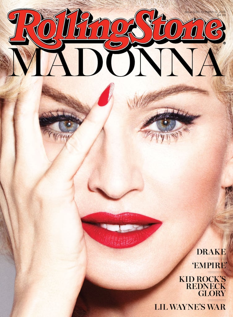 """The Queen of Pop weighs in on her fellow pop stars in the latest issue of Rolling Stone, sharing her thoughts on everyone from Lady Gaga to Taylor Swift. As for the former, Madonna commented on the pair's rumored feud, saying, """"The only time I ever criticized Lady Gaga was when I felt like she blatantly ripped off one of my songs. It's got nothing to do with 'she's taking my crown' or 'she's in some space of mine.'"""" She added, """"I do think she's a very talented singer and songwriter. It was just that one issue. And everybody's obviously running with it and turned it into a huge feud, which I think is really boring, quite frankly."""" Madonna explained that she doesn't care anymore, saying, """"Here's the thing: one day everyone's going to shut up about it. You'll see! I have a plan."""" Is that a hint at a future collaboration of some kind? The singer also talked about Kanye West, calling him """"a brilliant madman"""" and saying he """"doesn't have the same filters other people have."""" On the other hand, though, she admitted he also """"has brilliant ideas in the studio, if you can get him to pay attention long enough."""" Madonna told the magazine that she doesn't always agree with what Kanye says or does, and she doesn't always like his music — """"But he's a beautiful mess."""" She said, """"I love him . . . I think he takes award shows too seriously . . . So that part of him I can't relate to. Like, what's the point of fighting for somebody to . . . like, 'This person should have got it?' Don't come to an award show looking for justice!"""" And as for Taylor Swift? Well, Madonna wants to """"embrace"""" her. """"She has an opinion, and she's going against the norm,"""" Madonna said. """"So in that respect, she is similar to me, yeah. And also, people just want to give her a hard time all the time because they think she's a goody-two-shoes, so of course I want to embrace her."""" Oh, and speaking of Madonna embracing pop stars, the icon also mentioned that Britney Spears kiss from the 2003 MTV VMAs, saying her ex-hus"""