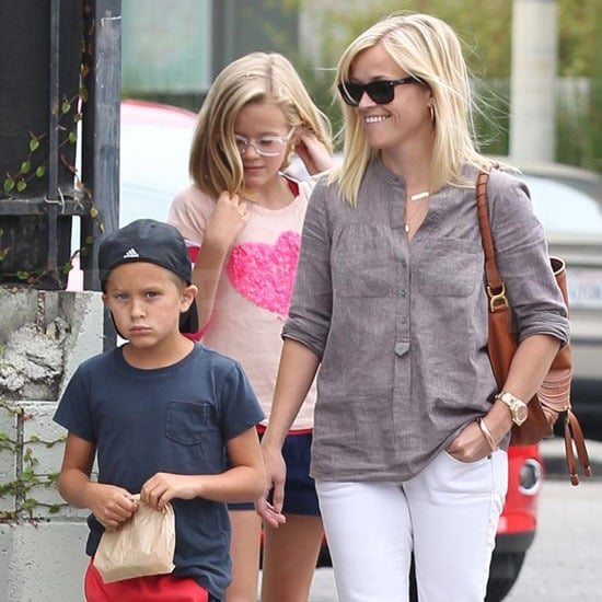 Reese Witherspoon joked with Deacon and Ava Phillippe leaving Axe restaurant in Abbot Kinney.