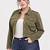 Torrid Olive Green Twill Crop Trucker Jacket