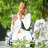 Gwyneth Paltrow chatted on her cell during a break from shooting Iron Man 3.